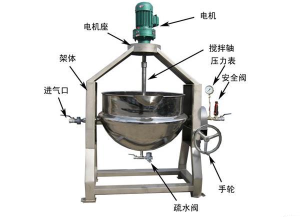 100L半自动行星搅拌蒸汽夹层锅