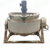 600L蒸汽搅拌带盖ke倾斜夹层锅